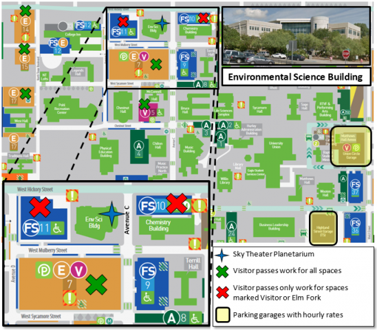 Unt Parking Map Parking & Directions | Astronomy Unt Parking Map